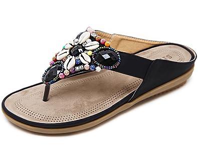 Strass Gaatpot Sandalen Damen Sommerschuhe Flip Pu Pantolette Leder Sandaletten Flache Böhmen Zehentrenner Flops 35Ljq4AR