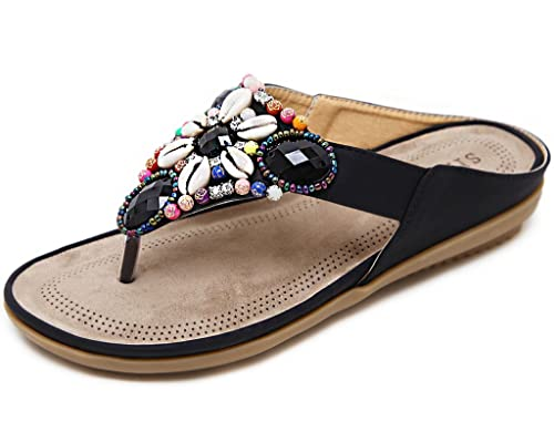 big sale e37a6 90ce8 Gaatpot Zehentrenner Sandalen Damen Flip-Flops Böhmen Sommerschuhe Strass  Sandaletten Flache PU Leder Pantolette,