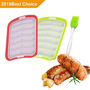 Silicone Baking Mold with Green Silicone Brush, 2 Pack DIY homemade Sausage Hot Dog Mold lce Cube Mould(Red&Green)