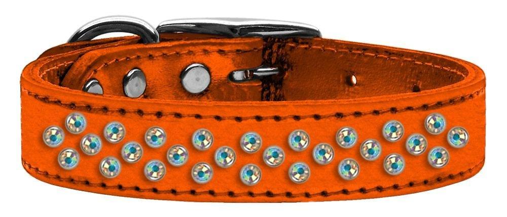 20\ Mirage Pet Products Sprinkles Aurora Borealis Crystal Metallic Leather orange Dog Collar, 20
