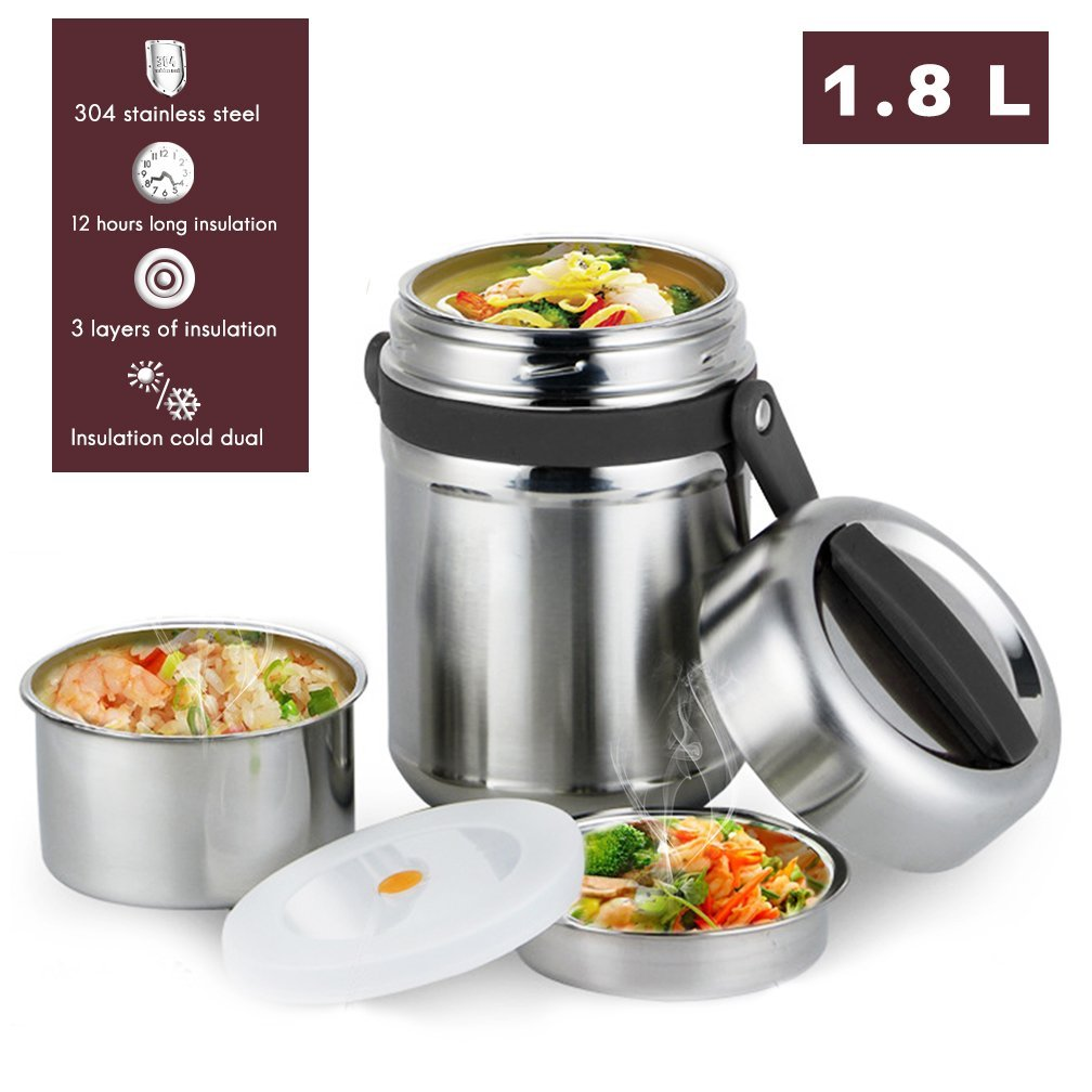 Vacuum Bento Lunch Box Food Carrier 304 Stainless Steel Insulated Thermos Food Container Storage Carrier, Leakproof BPA-Free 3 Tier Thermal Insulating Lunch Box, Keep Warm 6 hours (Black)