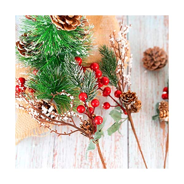 Tofytiy 12 Pieces White Christmas Berry Stems Pine Branches Sprays Artificial Pine Picks with Pinecones for Holiday Crafts Xmas Decorations Winter D/écor 12