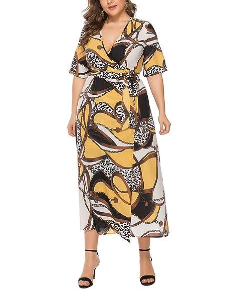 Vestidos de Talla Grande para Mujer Casual Midi Deep V Cross ...