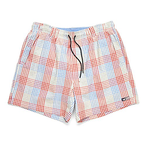 (Southern Marsh Dockside Swim Trunk - Seersucker Gingham, Red and Blue,)