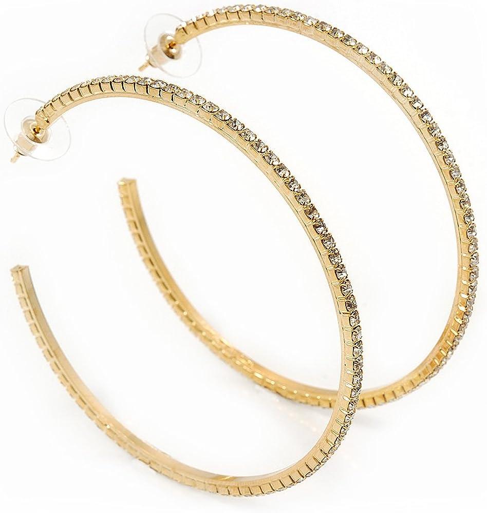 Gold Plated Hoop Earrings Rustic Look 7cm