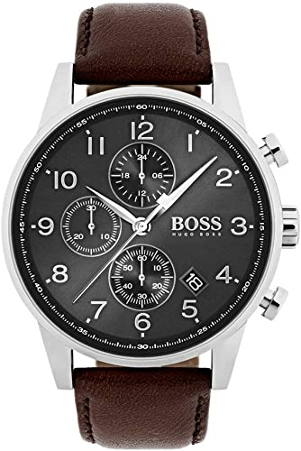Hugo BOSS Reloj Cronógrafo para Hombre de Cuarzo con Correa en Cuero 1513494: Amazon.es: Relojes