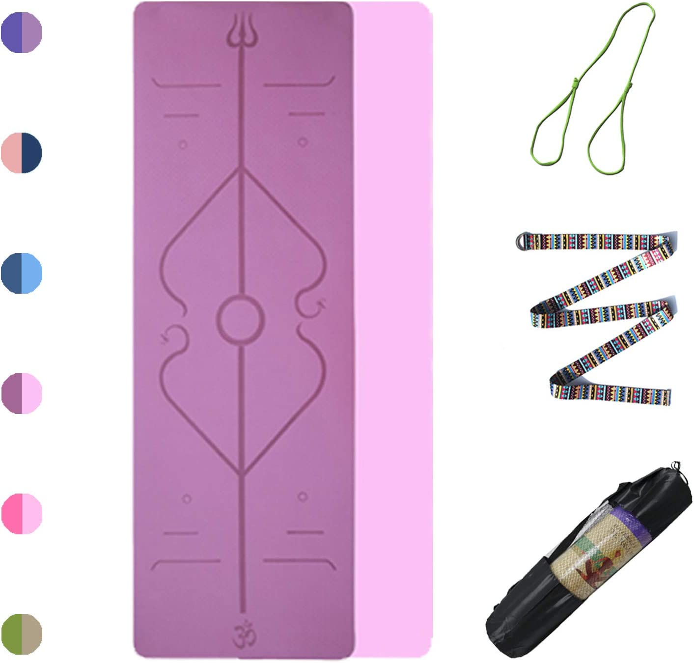 Non Slip 72 x 24inch Yoga Mat with Alignment Line /& Double Face Color Free Yoga Strap /& Bag 6mm Thick TPE Material Yoga Mats for Bikram Pilates Hot Yoga Mat