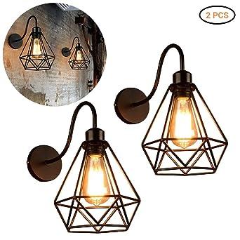 Mekta - Lámpara de pared para interior, diseño de jaula de pájaros ...