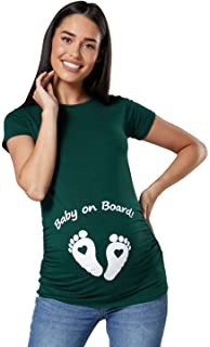 1ab69af1beec0 Happy Mama. Woman's Maternity Slogan Little Feet Funny Print Top T-Shirt.