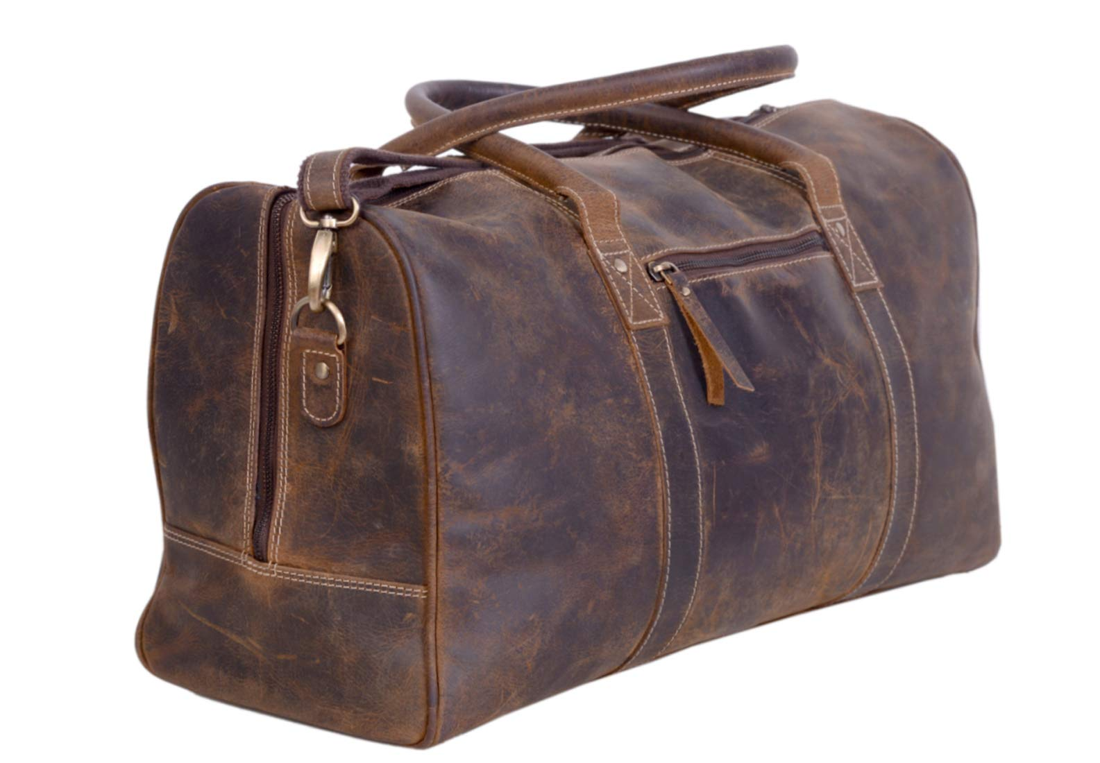 KomalC Leather Duffel Bags for Men and Women Full Grain Leather Travel Overnight Weekend Leather Bags Sports Gym Duffel for Men (24 Inch) by KomalC