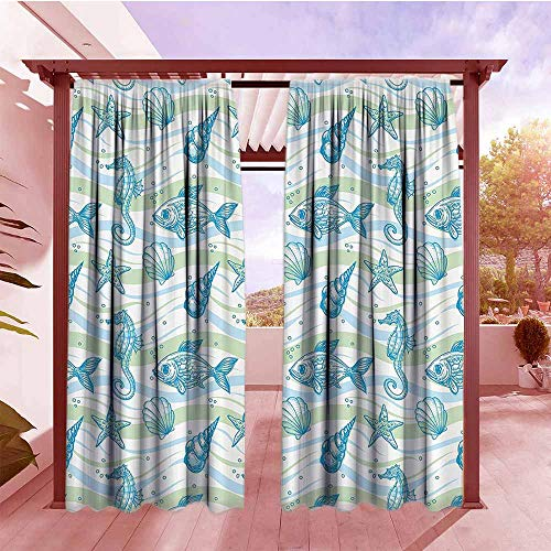 DGGO Exterior/Outside Curtains Nautical Marine Ocean Shell Starfish Oyster Mollusk Sea Horse Underwater Aquatic Pattern Hang with Rod Pocket/Clips W84x108L Mint Blue