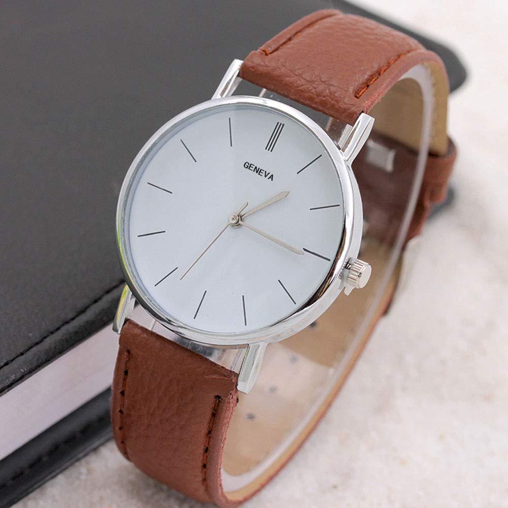 ... Pulsera Reloj de Moda Vogue Relojes para Hombre Mujer Ultra Fino Reloj de cinturón muñecas Prendas delicadas Reloj Geneve (café) X 1: Amazon.es: Relojes