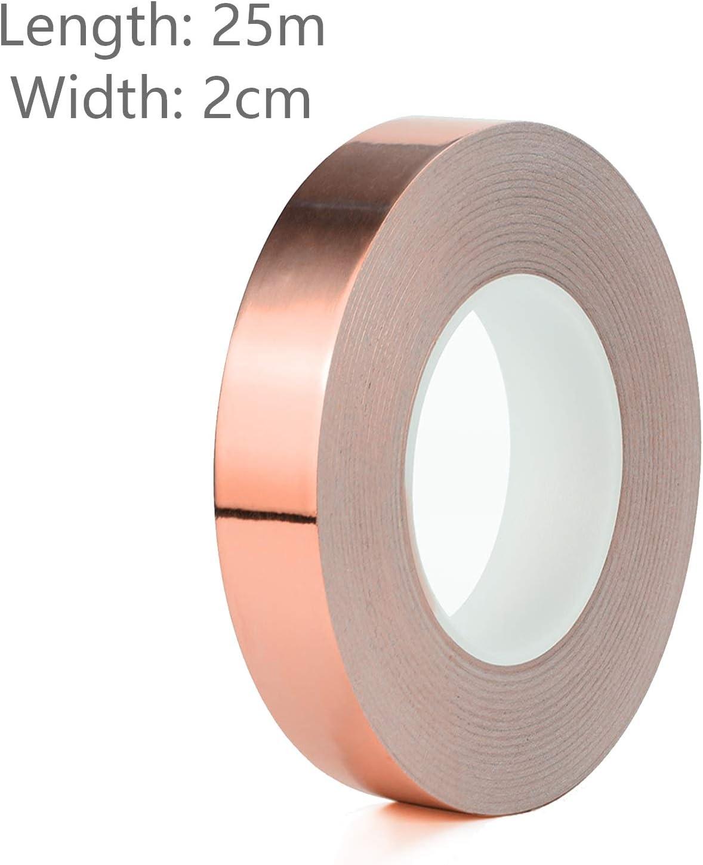 Lámina de cobre conductor cinta adhesiva, doble cara con adhesivo, papel, diseño de vidriera, con blindaje EMI reparaciones eléctricas, circuitos, Crafts., 20mm: Amazon.es: Jardín