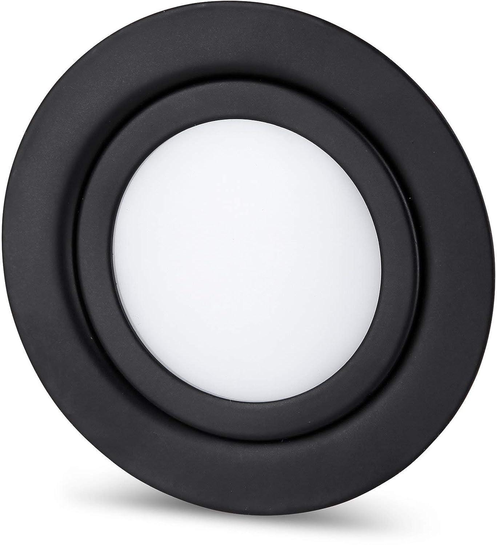 Blanc chaud Spot LED fin en m/étal IP44 12 V noir mat Convient pour montage encastr/é /Ø 60 mm 3000 K