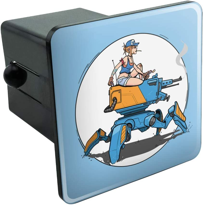 Graphics and More Mechanic Girl Riding Mecha Robot Tank Mech Engineer Tow Trailer Hitch Cover Plug Insert
