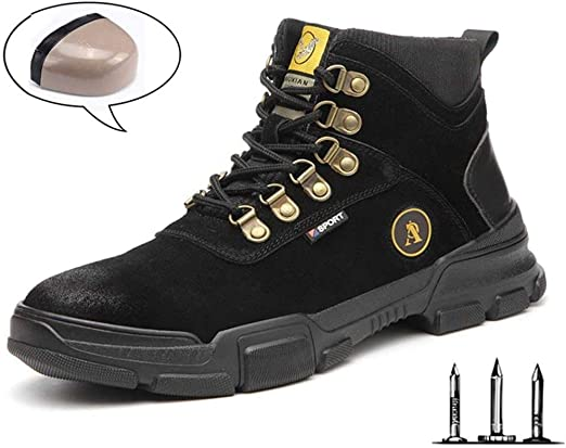 YURU Mens Safety Shoes Steel Toe Cap