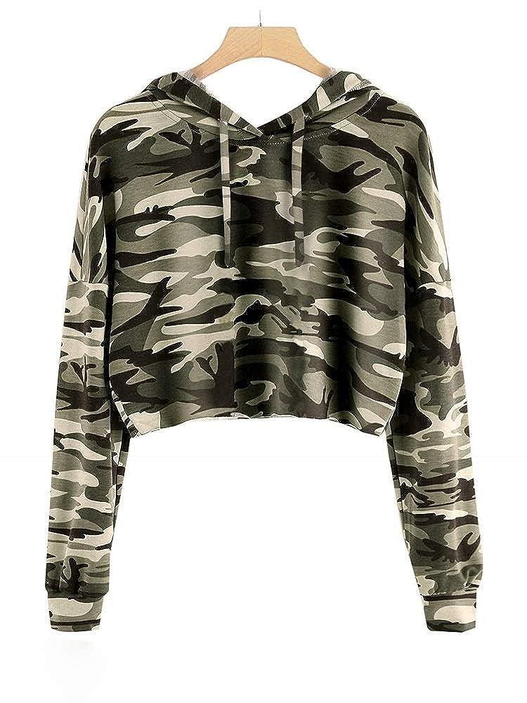Bluesarey Girls Cute Crop Top Long Sleeve Hoodie Plaid Cropped Sweatshirt Pullover Jumper