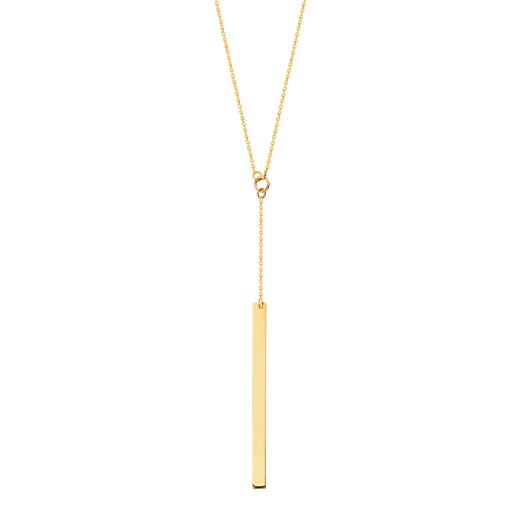 North to South Y-style Bar Drop Necklace 14k Yellow Gold by AzureBella Jewelry