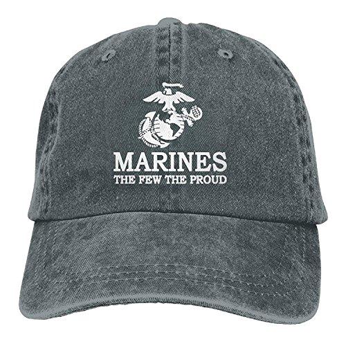 (Retro USMC The Few The Proud Marines Logo Cotton Denim Cowboy Baseball Caps Fitted Running Ball Hat)