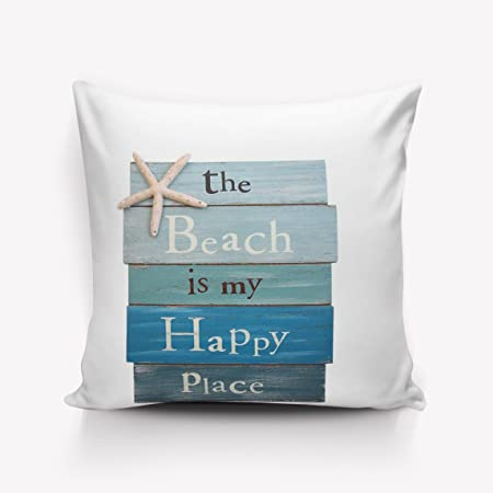 Jhonangel The Beach Is My Happy Place - Cartel de tablón con Funda de Almohada Starfish Funda de cojín Home Office Square Decorativo 18x18 Pulgadas