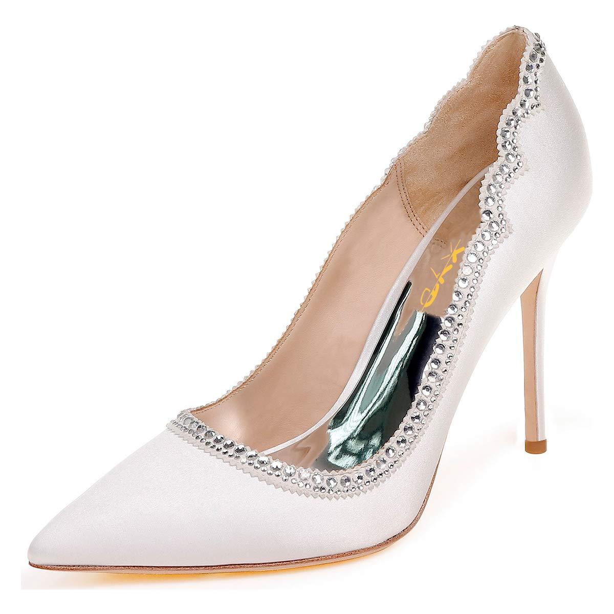 897ddf0b66 Amazon.com | XYD Women Graceful Crystal Studs Pointed Toe Wedding ...