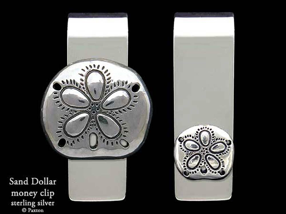 Sand Dollar Money Clip in Solid Sterling Silver Hand Carved, Cast & Fabricated by Paxton