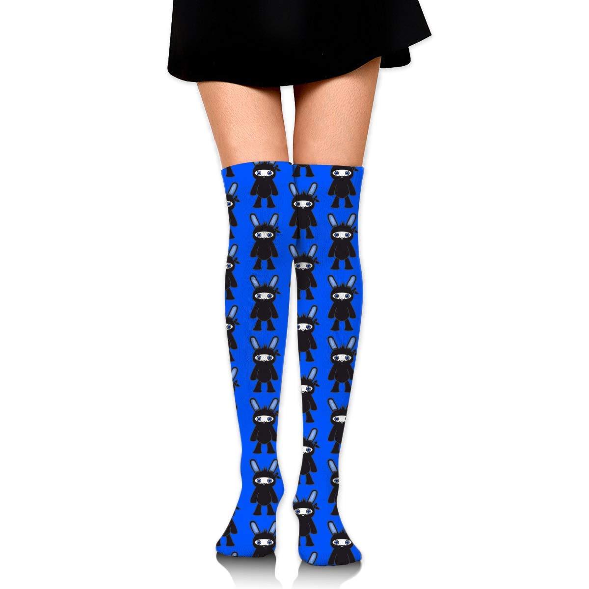 Blue Ninja Bunny Pattern Women Girls Funny Knee High Socks ...