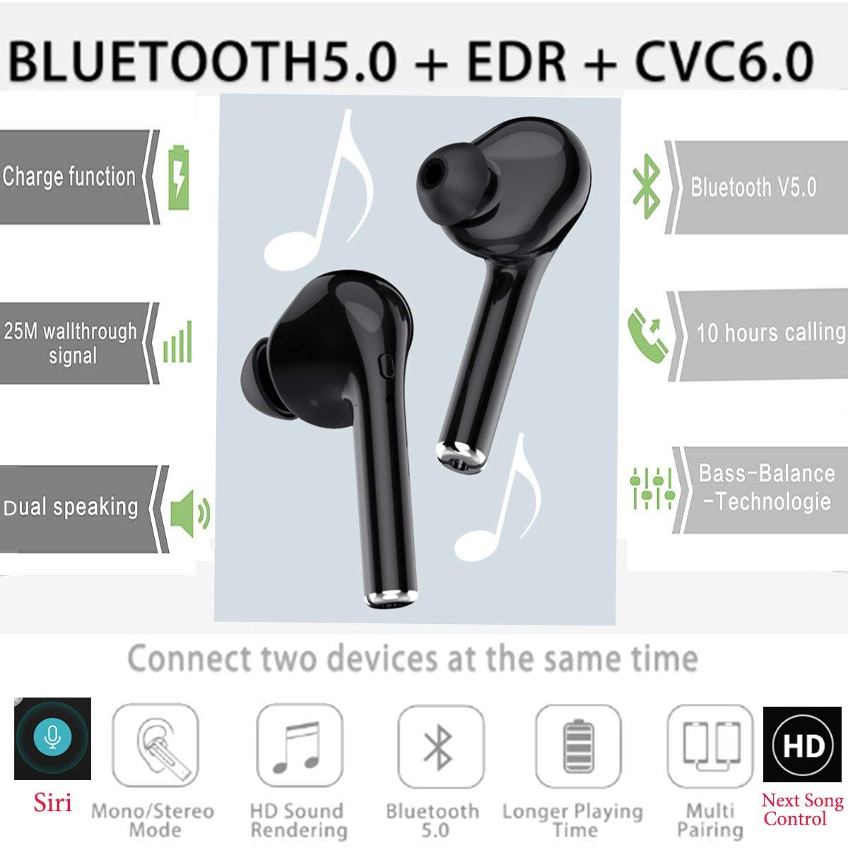 52c135ddc6e Amazon.com: Toysdone Headphones,Wireless Earbuds Stereo Earphones  Hands-Free Calling Headphone Sport Driving Headset with Charging Case for  Most Smartphones ...