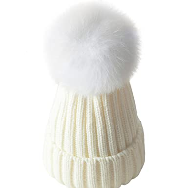 bf54cc8629b ZLFT Baby Winter Beanie Hat Wool Knitted Crystal with Large Pom Pom Cap SKI  Snowboard Hats  Amazon.co.uk  Clothing