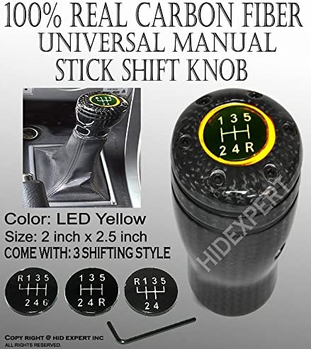 ICBEAMER JDM Style 100/% Real Carbon Fiber with Amber LED Light Fit Stick Shift Knob for Manual Transmission Only