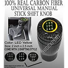 ICBEAMER Real Carbon Fiber with Yellow LED Light Fit Stick Shift Knob for Manual Transmission Only
