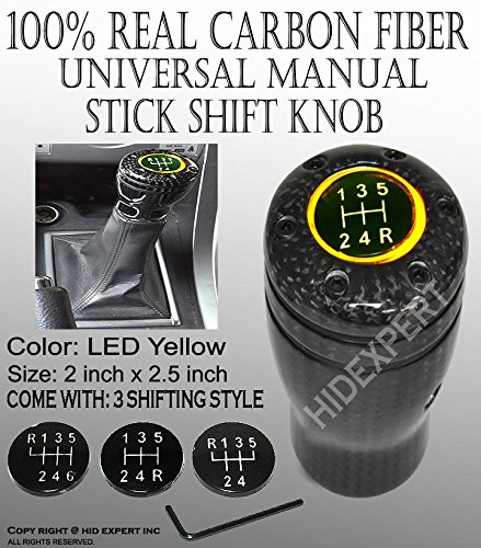 - ICBEAMER JDM Style 100% Real Carbon Fiber with Amber LED Light Fit Stick Shift Knob for Manual Transmission Only