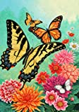 Cheap Spring Summer Monarch Butterfly Floral House Flag