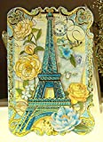 Punch Studio 10 Note Cards Die-Cut Gold Embellished #66911 Blue Paris & Roses Eiffel Tower