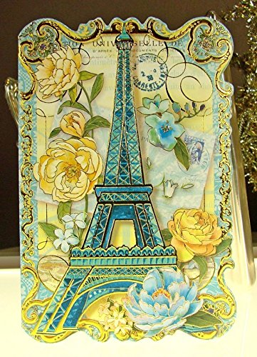 Punch Studio 10 Note Cards Die-Cut Gold Embellished #66911 Blue Paris & Roses Eiffel Tower by Punch Studio