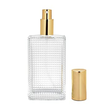 78e55c218c63 BEAUYK 100 ml (3.4 oz) Large Clear Thick Glass Empty Bottle, Gold/Silver  Spray Perfume Bottle...