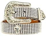 Nocona Girl's Edge To Edge Rhinestones Cross Conchos Belt, Black, 26