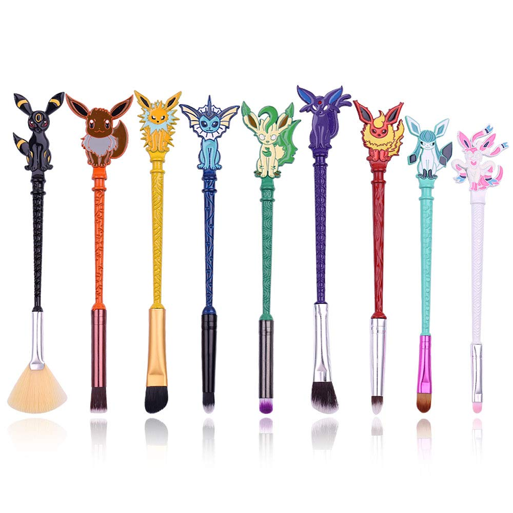 Cute Fairy Makeup Brush Set - 9pcs Wand Makeup Brushes with Premium Synthetic Fiber and Cartoon Handle for Blush, Foundation, Eyebrow, Eyeshadow, and Lips, Prefect Gift for Sister (Pikachu)