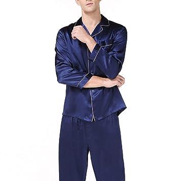 Mens Homewear Long Sleeve Fashion Male Pajama Sets Men Noble Simple Silk Pijamas,Blue,