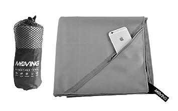 Microfibra Gimnasio Toalla con Bolsillo con Cremallera Super Absorbente Toalla de Deportes de Yoga para Las