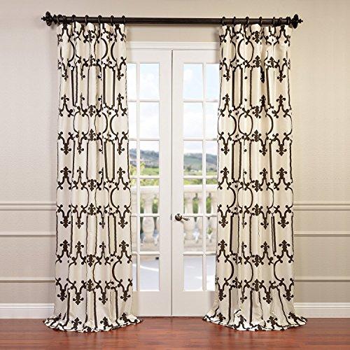 Half Price Drapes PTFFLK-C32-84 Flocked Faux Silk Taffeta Curtain, Royal Gate