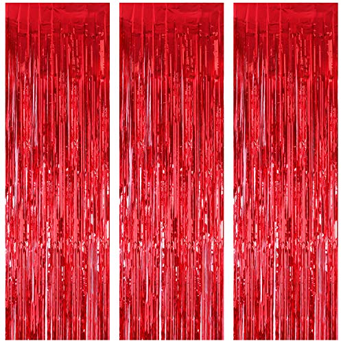 JVIGUE 3 Pack Foil Curtains Metallic Foil Fringe Curtain for Birthday Party Photo Backdrop Wedding Event Decor (Red) ()