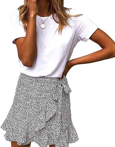 YYW Mini Falda de Leopardo asimétrico con Volantes de Cintura Alta ...