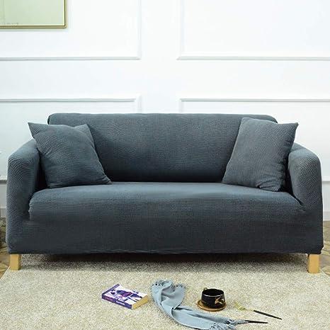 D&LE Color sólido Cubierta del sofá del sofá, 1 2 3 4 Plazas Stretch Tela Protector de sofá Europeo Anti-mite Anti-Arrugas Protector de Muebles-Gris 1 ...