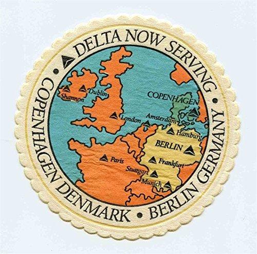 Delta Airlines Paper Coaster Now Serving Copenhagen Denmark Berlin Germany