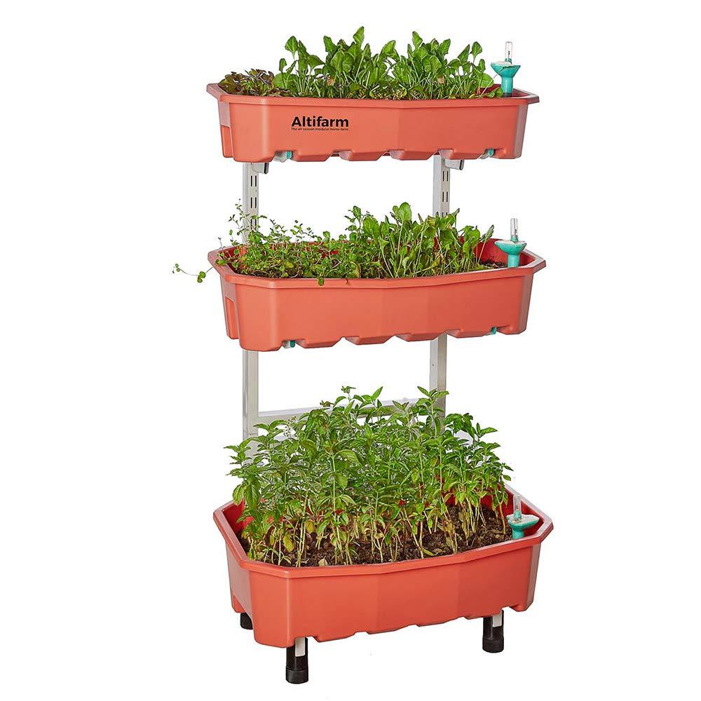 Altifarm Home Farm; Vertical Raised Elevated Garden Self-watering Planter Kit For Indoor & Outdoor Gardening (3 Tier, Peach) - Premium All-season Grow System by Altifarm
