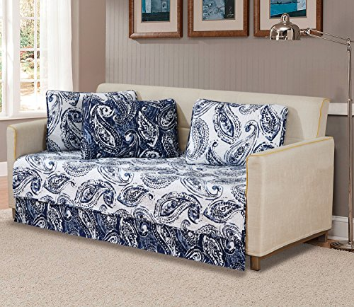 Mk Home 5 Pc Daybed Bedspread Quilted Print Floral Paisley Flower White Navy Blue Reversible New # - Daybed Print
