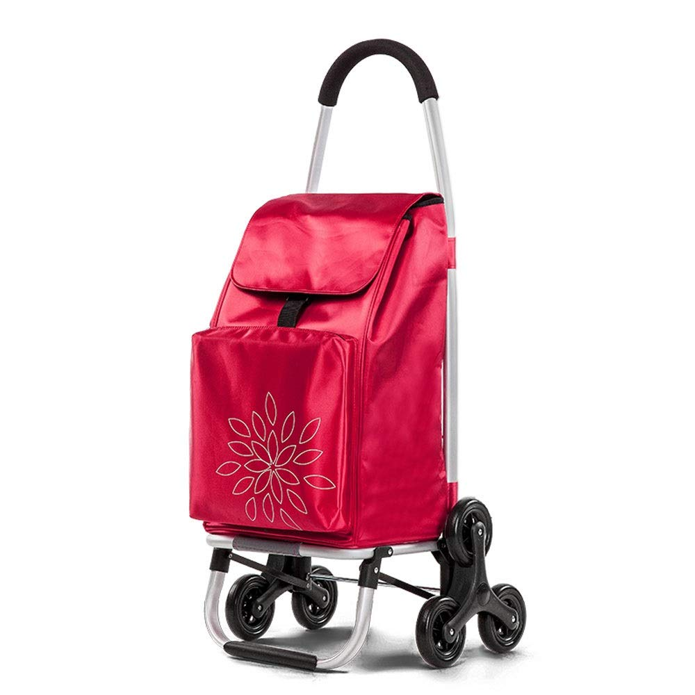 ZSLLO Wheeled Stair Ladder Shopping Cart Shopping Basket Household Shopping Trolley Trailer Portable Cart Shopping Bags Large (Color : Red)