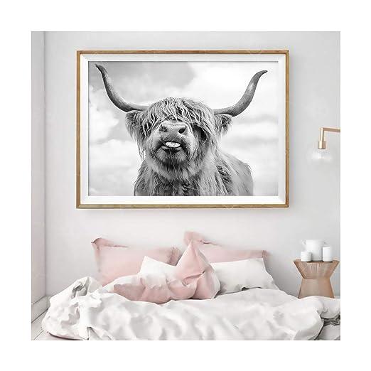 Auspiciousi Cartel Highland Cow Animals Canvas Painting HD ...