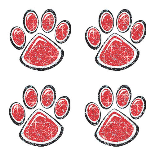 Red Glitter Paw Print Temporary